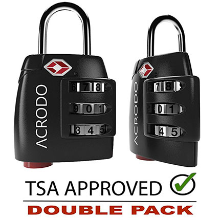 9. Acrodo TSA Approved Luggage Lock (2 Pack)