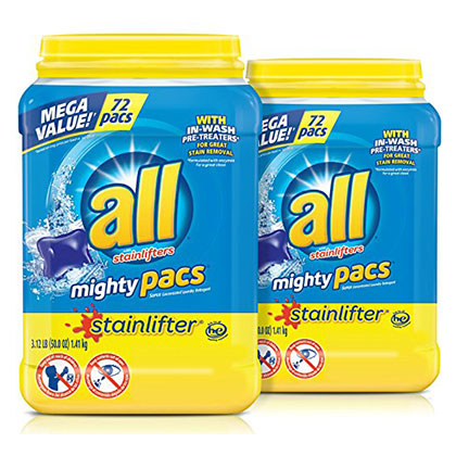 10. all Mighty Pacs Laundry Detergent, 2 Tubs (144 Total Loads)