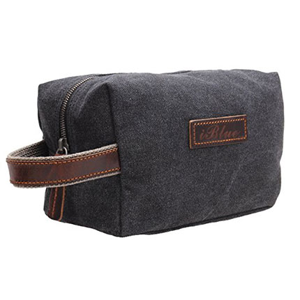7. iblue grey Canvas Travel Toiletry