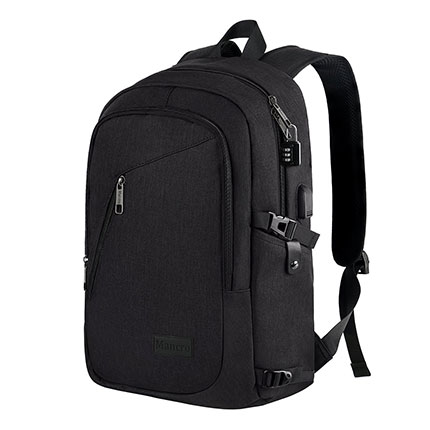 3. Mancro Black Business Laptop Backpack